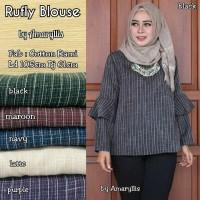 Atasan Wanita Blouse Muslim Tunik garis Lengan Panjang Jumbo XL rufly