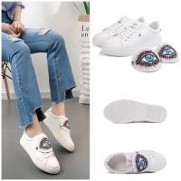 Jual Sepatu keds Flat Import 2201 new Fashion Shoes Korea kets putih santai Murah
