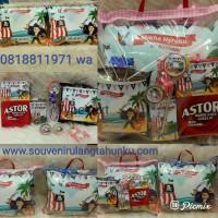 Jual Souvenir Bantal Kulit Printing 40x30 dan Snack 6 Macam Murah