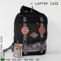Jual TERLARIS GET1463 Tas Ransel Pria Batik Etnik Hitam Cordura Lapto 19M9 Murah