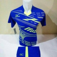 Baju Kaos Tim Volly Setelan Futsal Jersy Bola Mizuno Biru