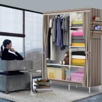 Jual Lemari Lipat/ Lemari Portabel Multifunction Wardrobe with cover Rak Murah