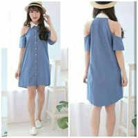 [Drees denim duma RO] dress wanita denim biru
