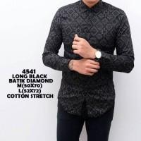 Jual kemeja batik pria songket modern hitam baju cowok slimfit kerja kantor Murah