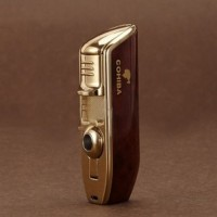 Cohiba Torch Lighter Triple Jet Flame with Cigar Punch Golden