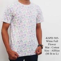 Baju Lengan Pendek Disro Kekinian Keren Model White Full Flower - 505
