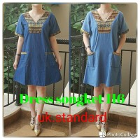 Dress Denim Songket V Neck / Dress Jeans Songket V Neck