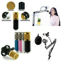 BM800+Stand Mic Fullset - Profesional Microphone Home Recording Studio