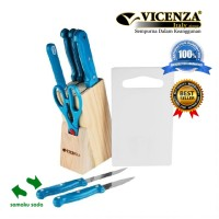 Set 10 Buah Pisau Dapur Vicenza Pisau Masak Italy Turquoise 3S009