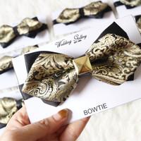 Jual dasi kupu bowtie import gold BATIK SQUARE Murah