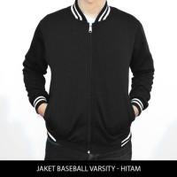 Jual [HARGA GROSIR] Jaket Baseball Varsity Polos - Hitam Murah