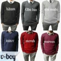 Jual Sweater Fleece Basic V Neck Polos Murah - Jaket Pria Wanita Rajut  Murah