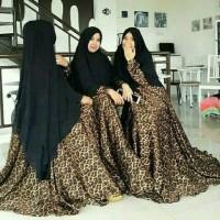 Jual set syari muslim leopard #nmleopardbubleblack Murah