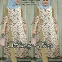 setelan baju muslim slit tunik blouse bunga panjang celana jogger