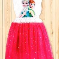 Jual Pink White Frozen Dress Murah