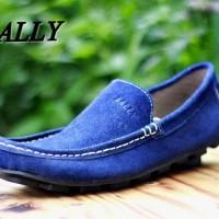 Sepatu slip on santai bally sued black/navy sepatu santai keren
