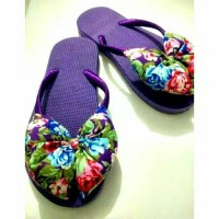 Jual sandal pita bunga ungu Murah