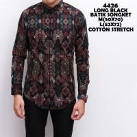 Jual Kemeja Lengan Panjang Batik Songket Black Murah