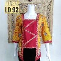 INBS066 Blouse Batik Model Kutubaru Modern Baju Atasan Wanita Murah