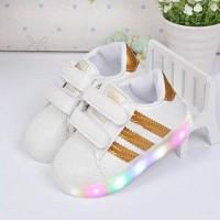 Jual Sepatu anak/LED adidas stripe- gold no. 31-35 Murah
