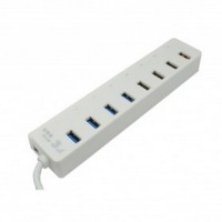 Super Speed USB Hub 3.0 8 Ports with 1A Power Adapter CQT 3008 White
