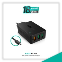 harga Aukey Pa-t14 Wall Charger With Quick Charge 3.0 - Hitam [42w/3 Port] Tokopedia.com