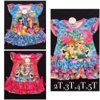 Jual Dress Daster Girl Little Pony, Frozen, Princess 0 - 4,5 tahun Murah