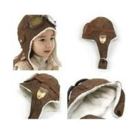 topi pilot coklat polos 2-4 tahun toddler hat kupluk anak balita kids