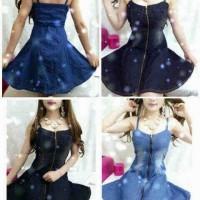 Jual Distributor dress wanita online -Nc130DJS - Dress denim jeans seleting Murah