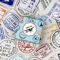 Sticker Stiker Koper 40 Pcs Desain Cap Paspor Stamp Travel Rimowa