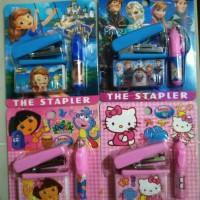 Jual Set Staples + isi Staples dan Pen Karakter HK Frozen Dora Sofia   Murah