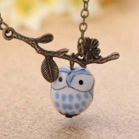 Jual Kalung Fashion Ceramic Owl Necklace S3P032 Murah