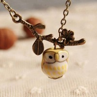 Jual Kalung Fashion Ceramic Owl Necklace S3P033 Murah