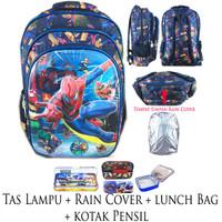 Jual Tas Ransel Sekolah SD Lampu + Rain Cover Spiderman 5D Black IMPORTLBKP Murah