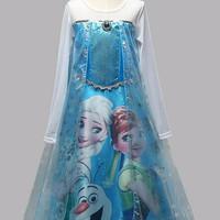 Special Baju Dress Kostum Frozen Gambar Elsa dan Anna