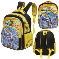 Jual Tas Ransel TK Import Transformers 5D Timbul Hologram 3 Kantung Yellow Murah