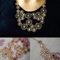 Jual Kalung Korea Statement Gold Flower  Murah