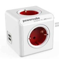 Stop Kontak Steker Listrik Allocacoc Powercube Extended USB 1,5m Red