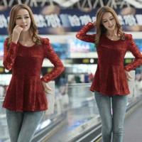 Jual [Agashi peplum FT] blouse wanita brukat maroon Murah