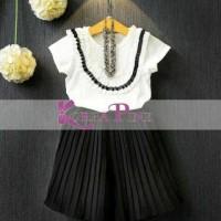 Harga baju pesta dress anak perempuan korea pink white set pleated | antitipu.com