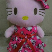 Boneka Hello Kitty Gaun Topi Dress Size L - 40cm