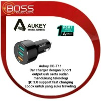 Jual Aukey CC-T11 Car Charger 3 output support QC 3.0 original garansiresmi Murah