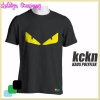 Jual Kaos cotton distro FENDI BLACK MONSTER POLYFLEX Murah