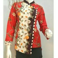 Jual Baju Batik Wanita lengan panjang krah Murah