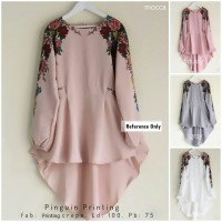 Baju Atasan Blouse Tunik Wanita Baju Muslim Rosebelle Pinguin Printing