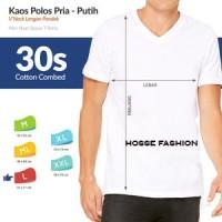Jual XXL - Putih - Kaos Polos Vneck Cotton Combed 30s Tangan Pendek Murah