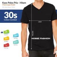 Jual L - Hitam - Kaos Polos Vneck Cotton Combed 30s Tangan Pendek Murah