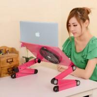 Meja Laptop Portable Aluminium with cooler big fan mousepad