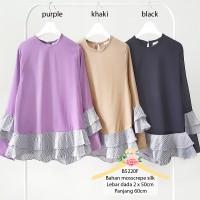 Jual Mosscrepe silk mix yanded blouse ruffle top / baju atasan wanita 5220 Murah