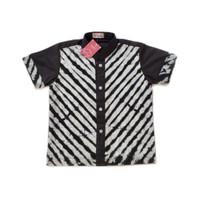 baju kemeja hem koko batik anak pekalongan motif shibori